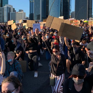 A Black Lives Matter rally in June 2020 spilled from the CBD across Victoria Bridge.