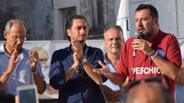 Matteo Salvini speaking to supports on his 'Italian summer tour'.