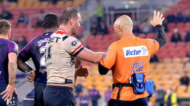 Boyd Cordner is taken from the field after suffering a serious head knock.