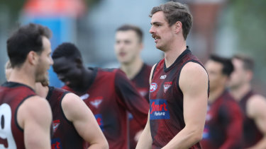 Joe Daniher at Essendon training on Monday, ahead of the Anzac Day game.