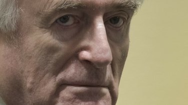 Former Bosnian Serb leader Radovan Karadzic enters the court room of the International Residual Mechanism for Criminal Tribunals in The Hague this week.