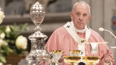 Pope Francis celebrates a Mass for the Philippine community of Rome, in St. Peter's Basilica last Sunday.