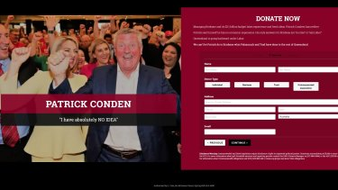 The website uses a photo from Pat Condren's campaign launch and a misspelt version of his name.