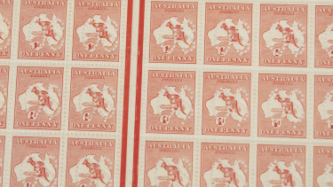 A sheet of 120 1d red kangaroo stamps, Australia's first stamp.