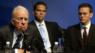 Rupert Murdoch with his sons Lachlan and James  at The News Corporation's AGM in Adelaide recently.