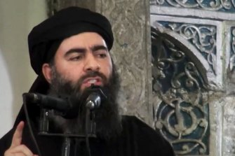 The death of Abu Bakr al-Baghdadi, pictured here in 2014, has not provoked a reaction from the organisation he led.
