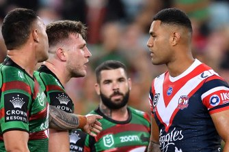 Round two ... Jai Arrow greets Roosters rookie Daniel Suluka-Fifita after the Rooster was sent to the sin bin this year.