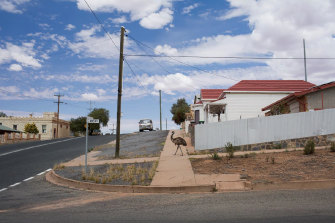Also a finalist in the Australian Life photography prize: an emu seeks food and drink in Broken Hill during the drought.