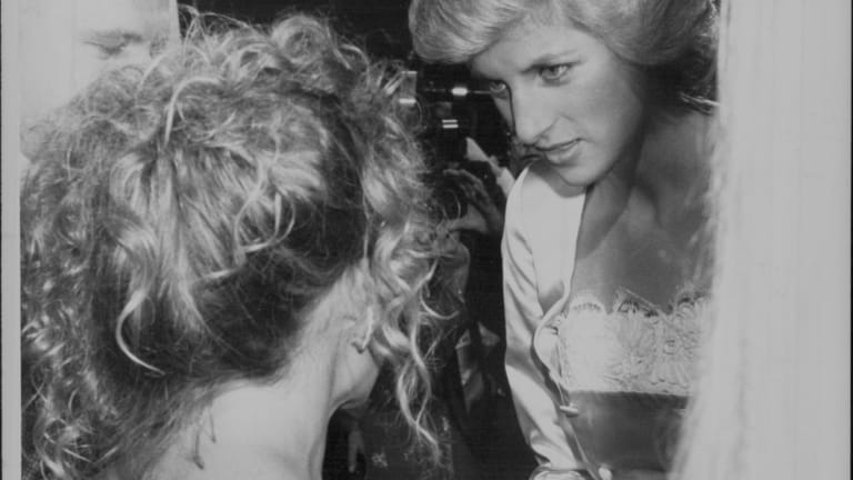 Kylie Minogue meets Diana, Princess of Wales,  in 1988.