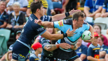 Brace: Josh Morris makes some yards for Cronulla in a two-try performance.