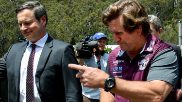 Down but not out: Manly chairman Scott Penn, left, has hit back at rumours he says are aimed at destabilising the club.