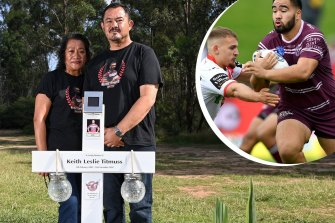 The family of former Manly NRL youngster Keith Titmuss is grieving his death; his mother Lafo and dad Paul.