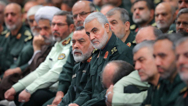 General Qassem Soleimani, centre, attends a meeting of a group of the Iranian Revolutionary Guards Corps members with Supreme Leader Ayatollah Ali Khamenei in Tehran, Iran, in October.
