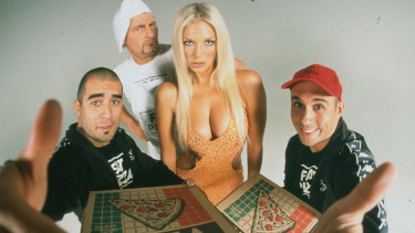 Braakensiek with Pizza cast Paul Nakad, Johnny Boxer and Paul Fenech.