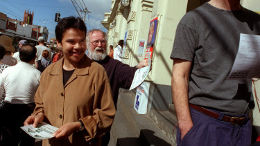 Charmaine Clarke on the campaign trail in Northcote in 1998 when she was the Greens' lead candidate for the Senate.