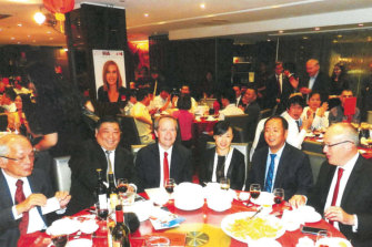 Labor's 2015 fundraising dinner at The Eight restaurant in Chinatown. Pictured are Ernest Wong, second from left; Bill Shorten, third from left; Huang Xiangmo, second from right; and Luke Foley, far right.