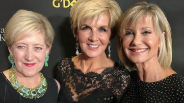 Jewellery designer Margot McKinney, Julie Bishop and Olivia Newton-John at a G'Day USA event.