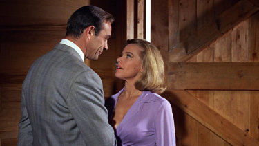 James Bond (Sean Connery) and Pussy Galore (Honor Blackman) in Goldfinger.
