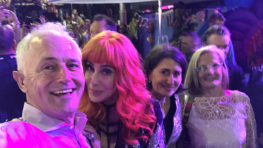 Former PM Malcolm Turnbull takes a selfie with Cher, Premier Gladys Berejiklian, and his wife Lucy Turnbull at Mardi Gras in 2018.