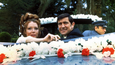 Diana Rigg, playing Tracey di Vicenzo, with Lazenby as Bond in the 1969 film.