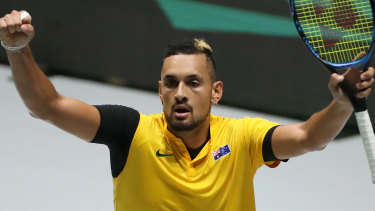 Nick Kyrgios reacts after beating Steve Darcis of Belgium.