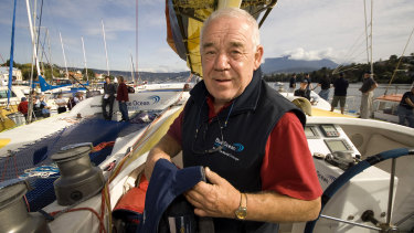 British yachtsman Tony Bullimore prepares to start a round-the-world challenge in 2007, at age 68.
