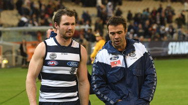 Chris Scott and Patrick Dangerfield walk the MCG earlier this year.