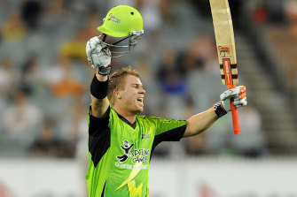 David Warner in action for Thunder in the Big Bash in 2011.