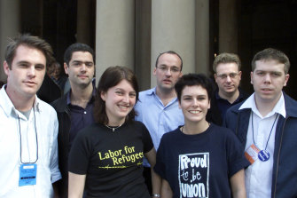 Rising political stars at the 2004 ALP conference. From left, Minns, then Young Labor president, John Graham, Amanda Tattersall, Luke Foley, Karen Iles, Michael Gadiel and  Paul Howes