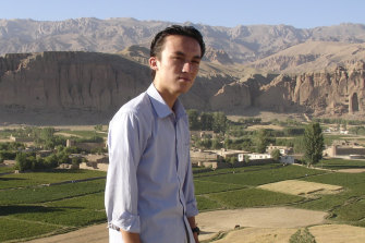 A young Hadi Zaher in front of the Buddha statues idestroyed by the Taliban in Bamiyan.