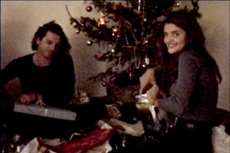 Still from home movie of Hutchence with Helena Christensen at his French villa.