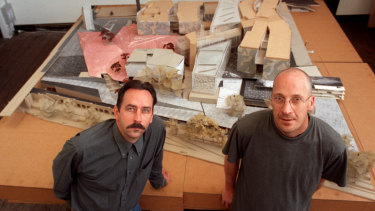 Architects Donald Bates, left, and Peter Davidson in 1998 front of a model of Federation Square.