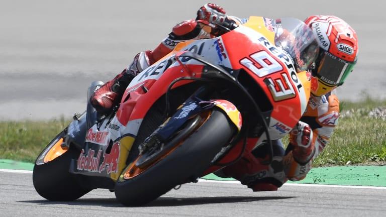 Dominance: Marc Marquez of Spain won his ninth German MotoGP running.