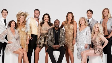Constance Hall, third from the left, with the 2019 cast of Dancing With the Stars.