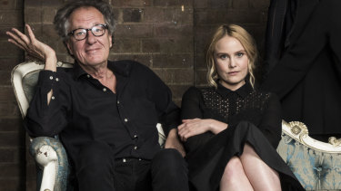 Geoffrey Rush and Eryn Jean Norvill at the Sydney Theatre Company ahead of the King Lear production.