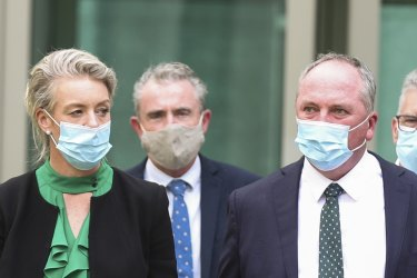 Nationals deputy leader David Littleproud, at right, expects a majority in the party room will decide the position on net zero.