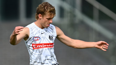 Finlay Macrae will make his debut for the Magpies on Friday night.