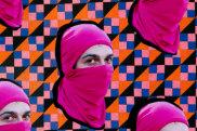 Washington, Pink Bloc protester at Gay Pride in Copacabana, 13th October 2013 (detail) 2016-17 byJemima Wyman.