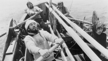 Skipper Timothy Severin sets the pace as the oars come out and into play far out on the Atlantic, August 6, 1976.