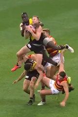 Tiger JackRiewoldt's crazy brave mark against the Adelaide Crows.