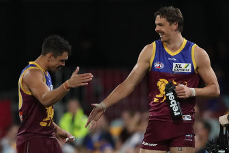 Joe Daniher is all smiles for the Lions during their win over his former club Essendon.