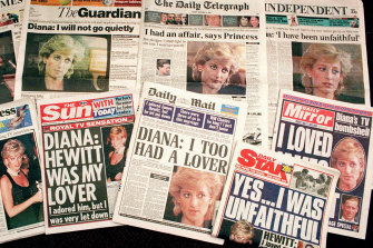 A selection of front pages of British national newspapers showing their reaction to Princess Diana's television interview with BBC journalist Martin Bashir in 1995.