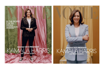 US Vogue was criticised for the dressed-down cover shot (at left), rather than the more styled one (right) which accentuates power.
