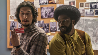 Adam Driver and John David Washington in BlacKkKlansman, Spike Lee's acclaimed film about a black police officer who infiltrated the Ku Klux Klan in the 1970s.