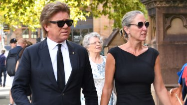 TV presenter Richard Wilkins arrives at the funeral mass for Mike Willesee at St Mary's Cathedral in Sydney on Friday.
