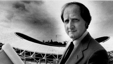 Architect Philip Cox outside the Sydney Football Stadium, February 17, 1988.