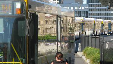 A broken down bus at the Cultural Centre station in Southbank caused gridlock across the inner-city bus network. (FILE PIC)