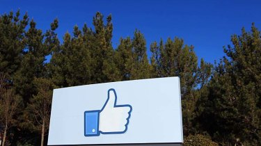 A giant 'like' icon outside Facebook headquarters in Menlo Park, California.
