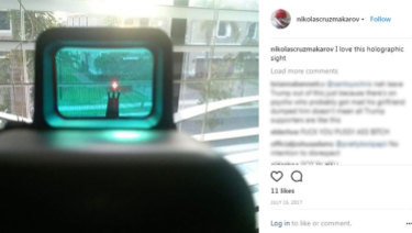 Another image from Nikolas Cruz' Instagram appeared to show a holographic laser sight pointed at a neighbourhood street.