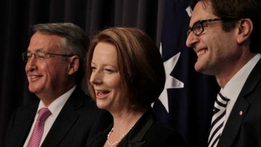 In government: Wayne Swan and Greg Combet with then Prime Minister Julia Gillard.